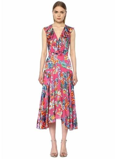 Saloni Rita Çiçekli Volanlı Midi İpek Elbise Pembe
